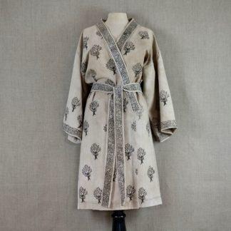 Naturally dyed Mei Line bathrobe