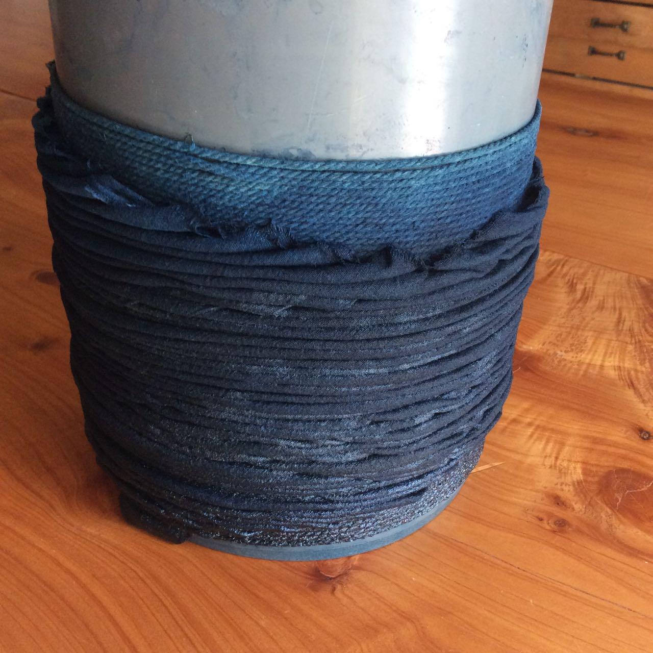 Arashi shibori indigo dye at Mei Line