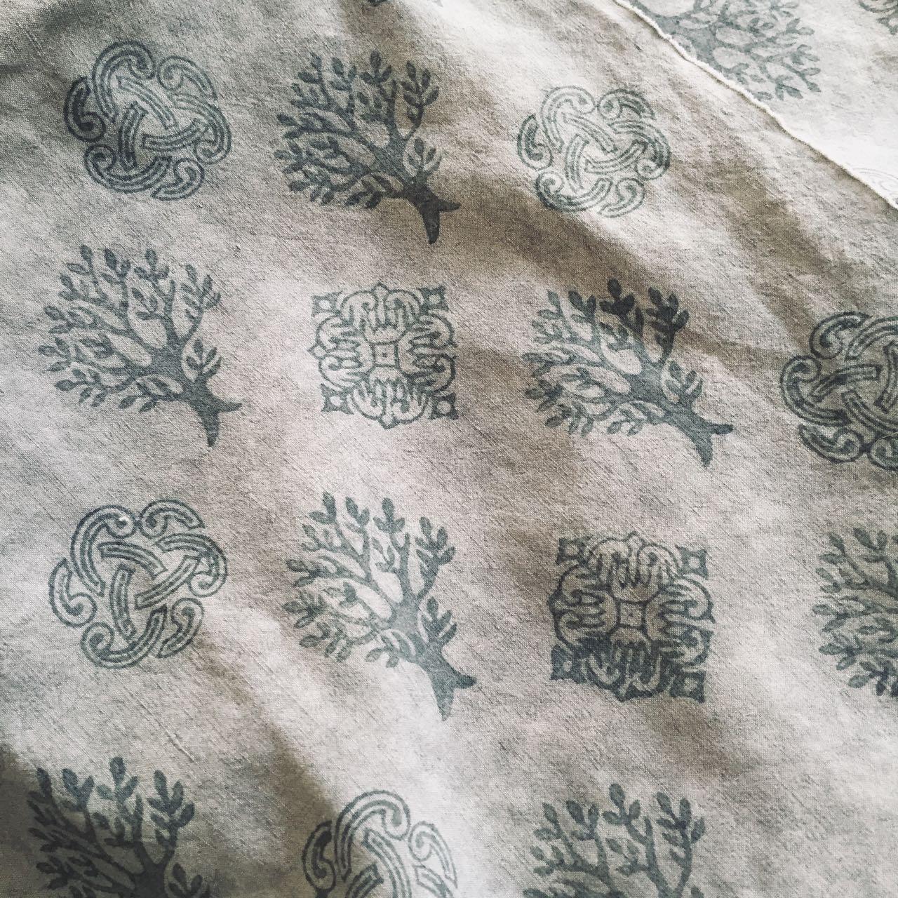 Block printed fabric Mei Line