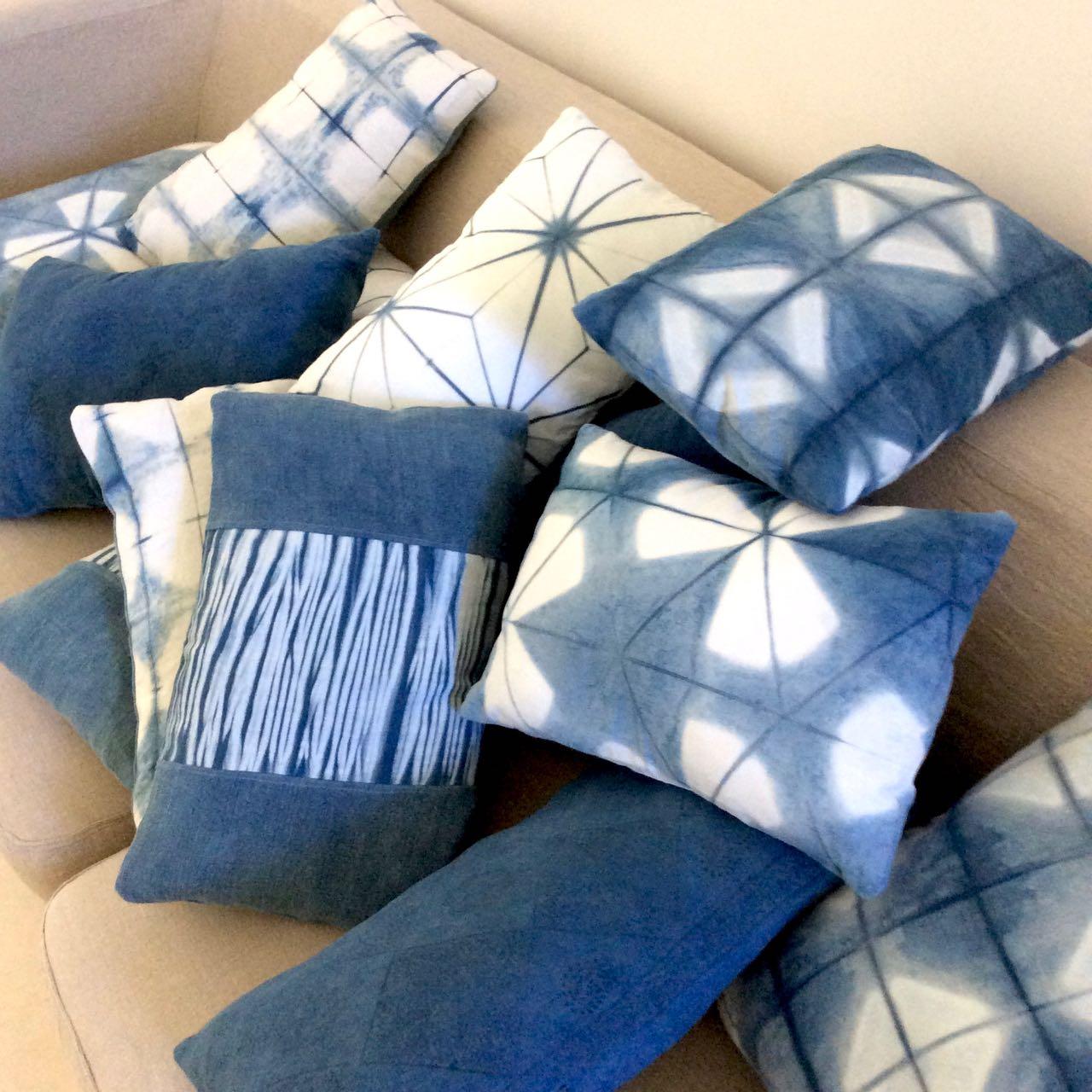 Mei Line natural dye in Provence, indigo shibori cushions
