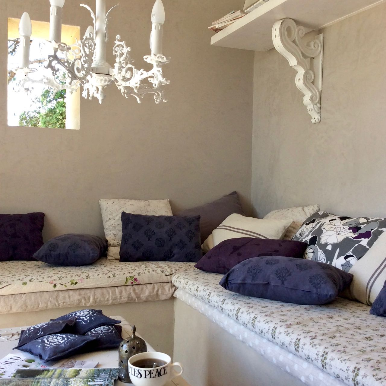 Mei Line natural dye in Provence, block printed cushions