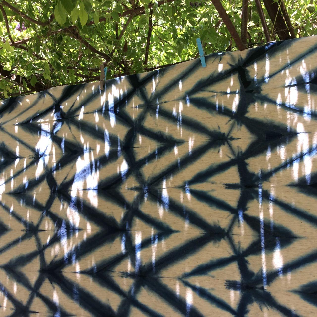 Itajime shibori indigo dye at Mei Line
