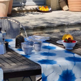 Indigo shibori table runner