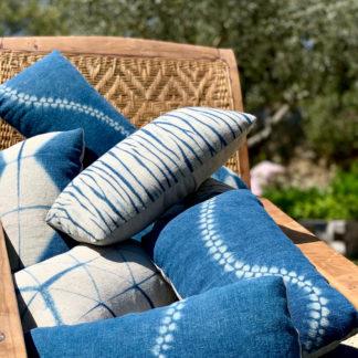 Indigo shibori cushions