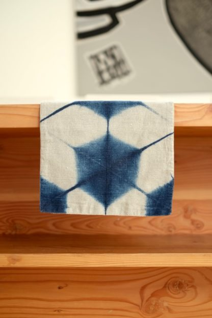 Indigo Itajime Shibori table runner