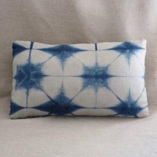 Indigo Itajime Shibori cushion