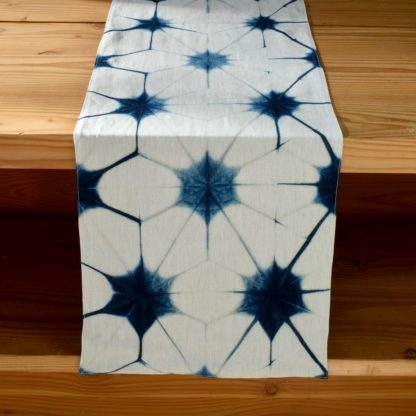 Mei Line table runner indigo shibori