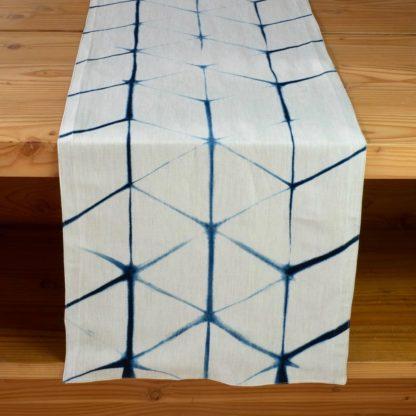 Mei Line table runner indigo shibori