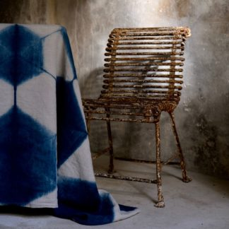 Indigo itajime shibori tablecloth