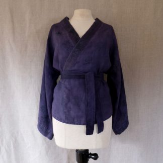 Vintage logwood dyed linen cardigan