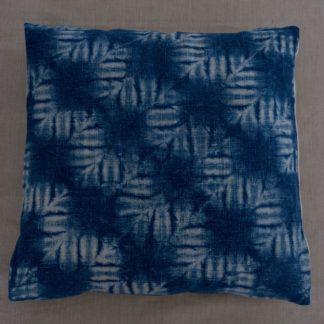 Indigo nuishibori cushion cover